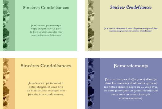 Faire part de Condoleances gratuit à imprimer
