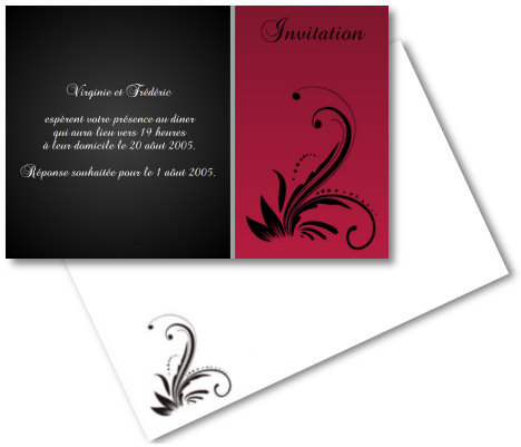Faire-part de Invitation. Faire part d'invitation noir et rouge (couleurs modifiables).
