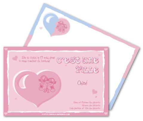 Carte Naissance Fille Gratuite à Imprimer