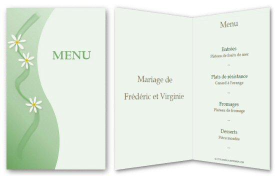 Exceptionnel Menu de fête gratuit à imprimer. Pâquerette - A-Imprimer.com YB59