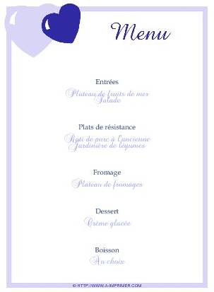 menu de f te gratuit imprimer coeurs bleus a. Black Bedroom Furniture Sets. Home Design Ideas