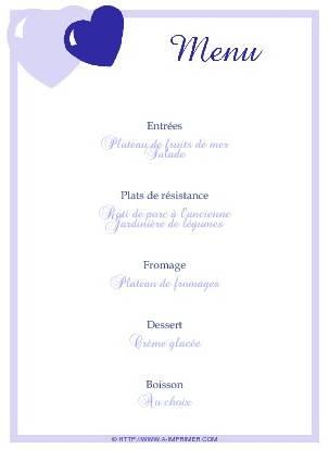 Top Menu de fête gratuit à imprimer. Coeurs bleus - A-Imprimer.com IQ08