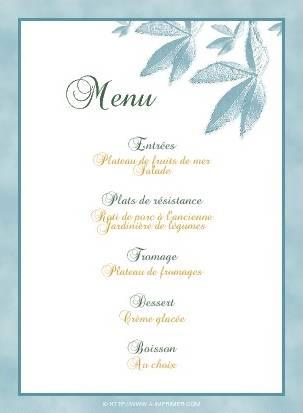 menu de f te gratuit imprimer feuilles bleues a. Black Bedroom Furniture Sets. Home Design Ideas