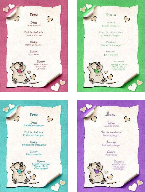 Gut bekannt Menu de fête gratuit à imprimer. Ourson - A-Imprimer.com JK41