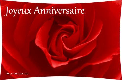 carte postale gratuite imprimer anniversaire rose rouge a. Black Bedroom Furniture Sets. Home Design Ideas
