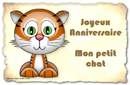 Carte Postale Gratuite A Imprimer Anniversaire Mon Petit Chat A