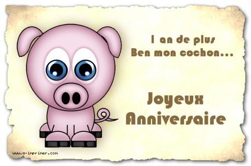 Carte postale gratuite imprimer anniversaire 1 an de - Photo de cochon a imprimer ...