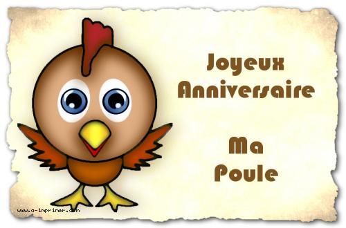 Beliebt Carte postale gratuite à imprimer Anniversaire - Ma poule - A  MH36
