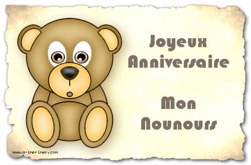 Carte Postale Gratuite A Imprimer Anniversaire Mon Nounours A
