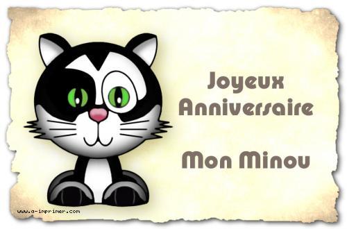 Carte Postale Gratuite à Imprimer Anniversaire Mon Minou