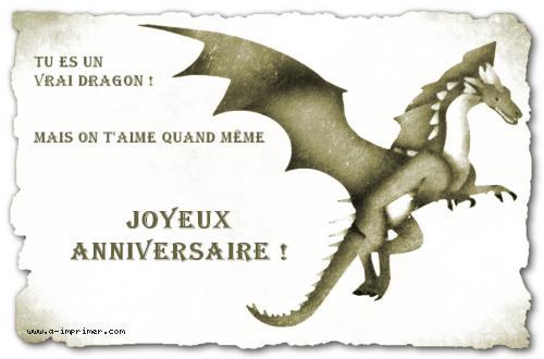 Carte Postale Gratuite à Imprimer Anniversaire Le Dragon