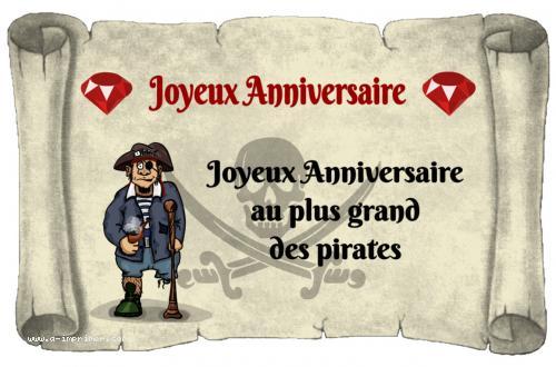 Carte Postale Gratuite A Imprimer Anniversaire Pirate