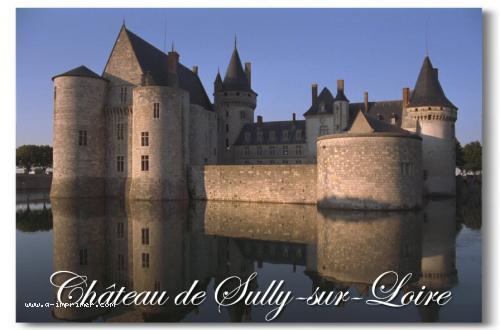 Carte postale du château de Sully sur Loire en Indre et Loire.