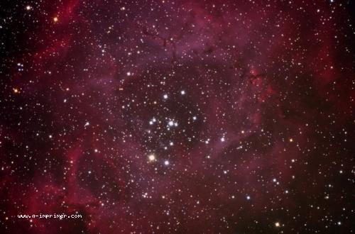 Carte postale de la nébuleuse de la rosette. Astronomie.