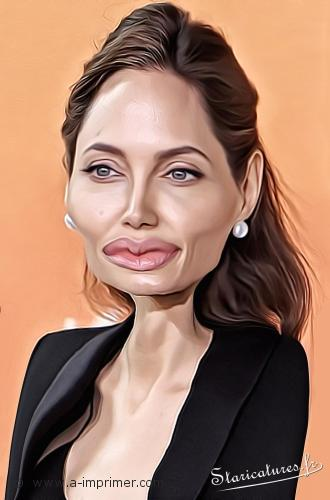 Carte postale caricaturale de Angelina Jolie