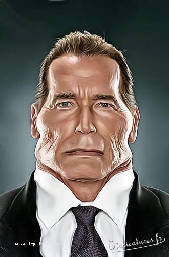 Carte postale caricaturale de Arnold Schwarzenegger