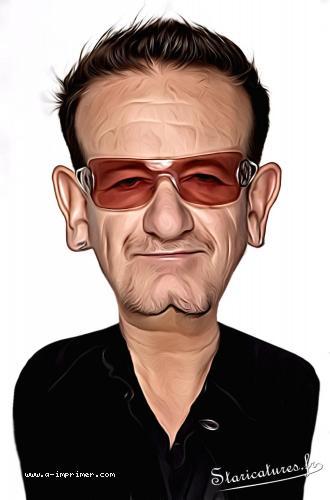 Carte postale caricaturale de Bono de U2