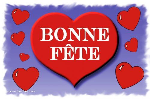 Carte postale d'un gros cœur rouge. Bonne fête.