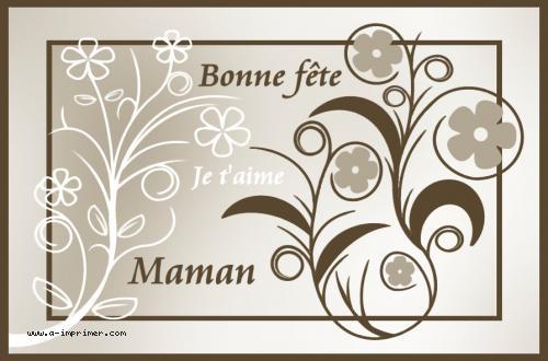 Carte postale gratuite imprimer fetes bonne f te maman - Bonne fete maman a imprimer ...
