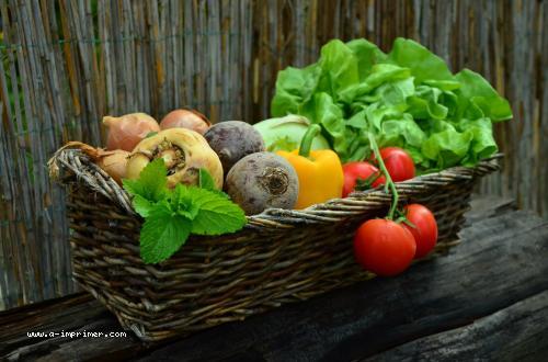 Carte postale d'un panier de légumes.