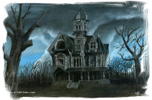 Carte postale d'une peinture sombre d'un manoir.