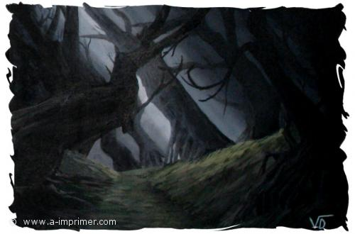 Tableau d'une forêt obscure