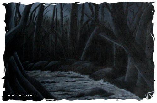 Tableau d'une forêt obscure et d'une rivière agitée