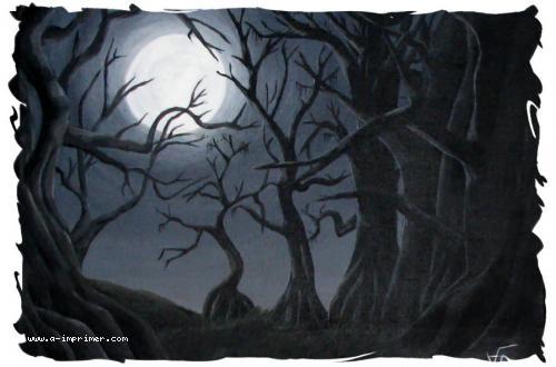 Tableau de la lune éclairant une forêt obscure