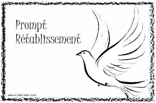 Carte postale pour souhaiter un prompt rétablissement composée d'une colombe.